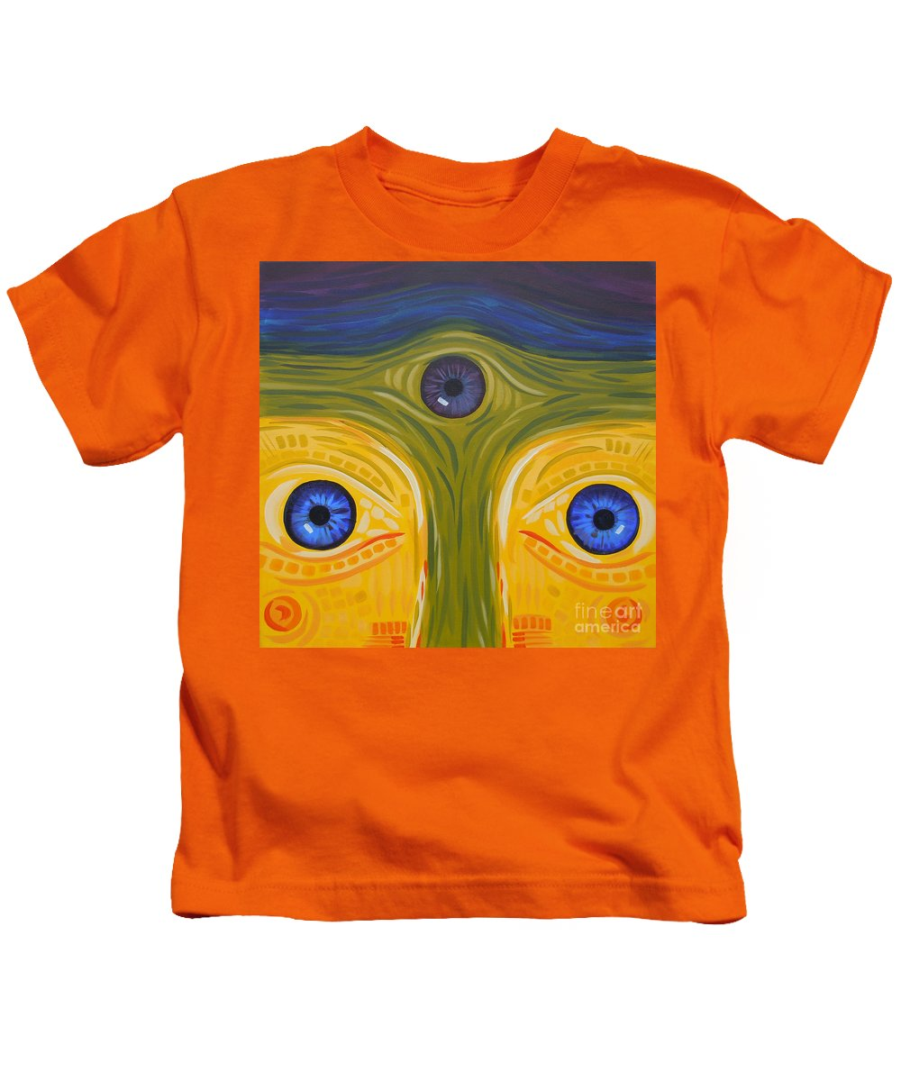 Face Kids T-Shirt featuring the painting 3eyes2c by Tonya Henderson
