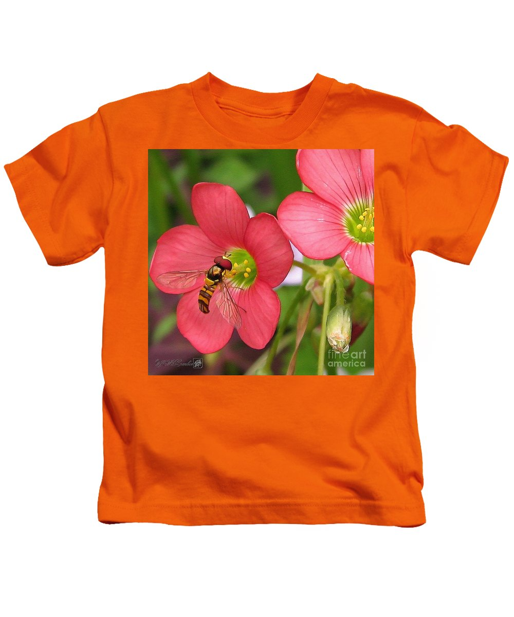 Oxalis Deppei Kids T-Shirt featuring the painting Oxalis Deppei Named Iron Cross by J McCombie