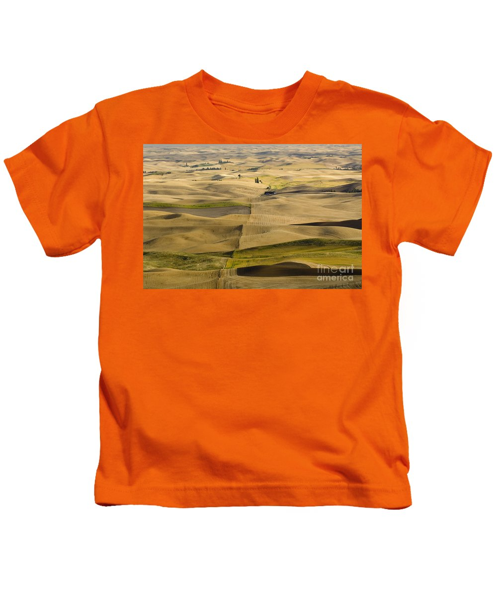 Field Kids T-Shirt featuring the photograph Farm Fields by John Shaw