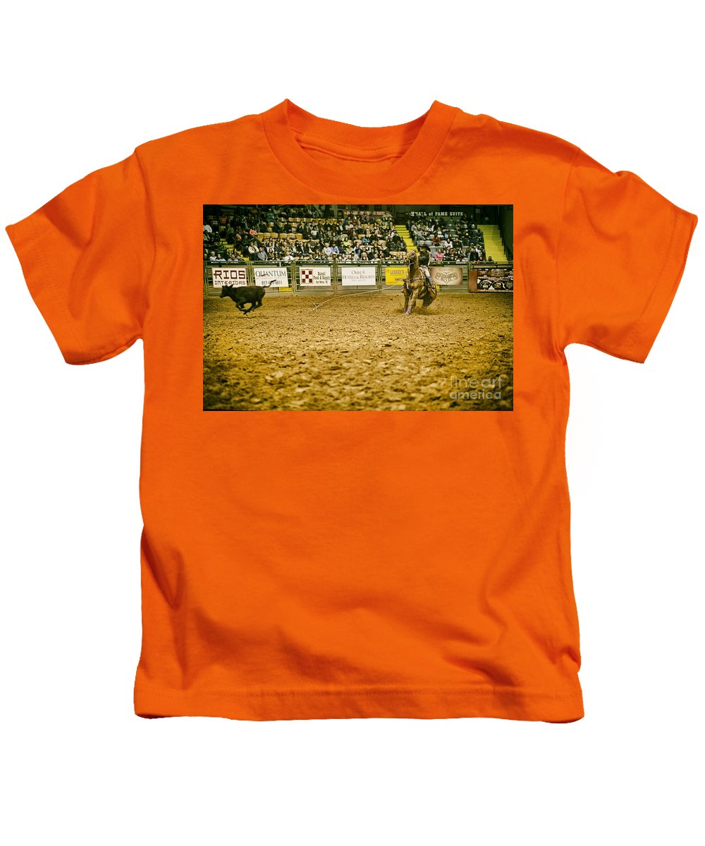 Night Kids T-Shirt featuring the photograph A Night At The Rodeo V15 by Douglas Barnard