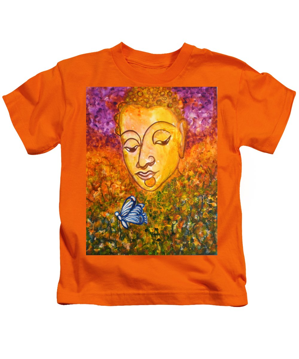 Abstract Print Art Painting Buddha Butterfly Purple Inspirational Traditional Yellow Red Orange Kids T-Shirt featuring the photograph A Soulful Journey by Manjiri Kanvinde