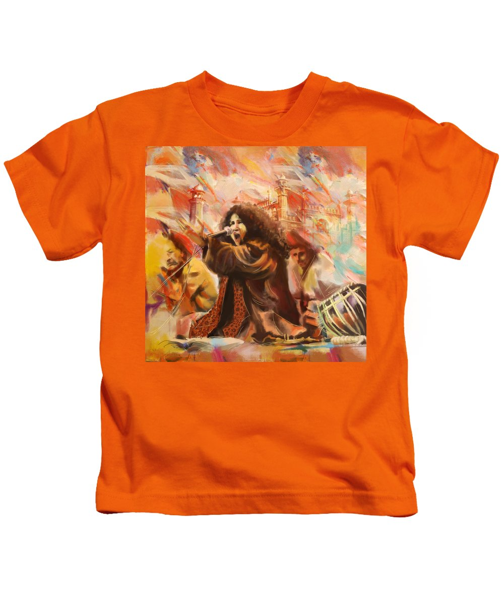 Zakir Kids T-Shirt featuring the painting Abida Parveen by Catf