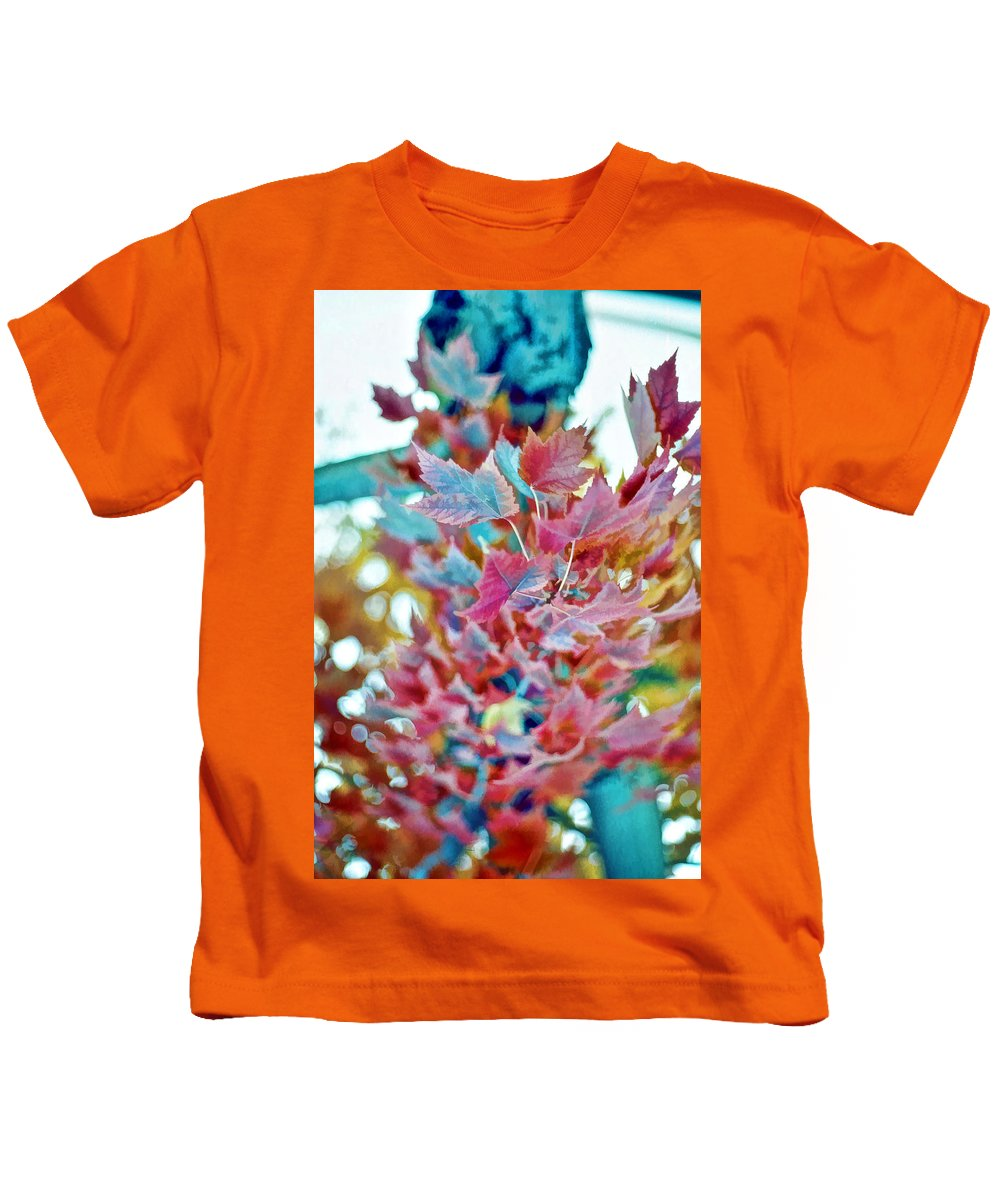 Leaves Kids T-Shirt featuring the photograph Abstract Leaves by Cathy Anderson