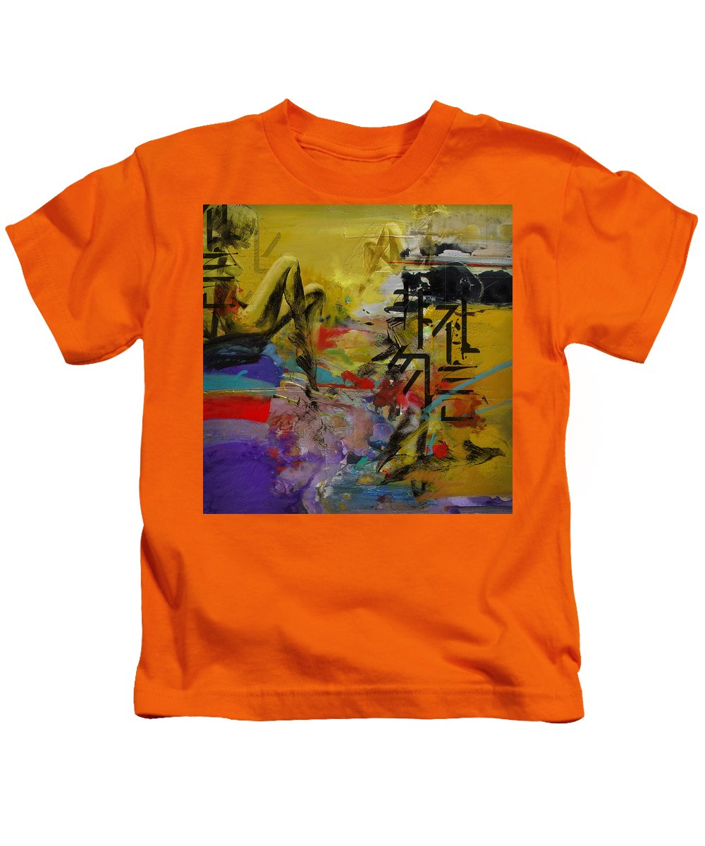 Women Kids T-Shirt featuring the painting Abstract Women 016 by Corporate Art Task Force