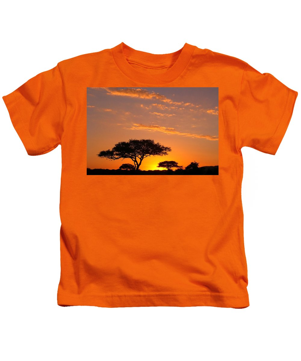 Africa Kids T-Shirt featuring the photograph African Sunset by Sebastian Musial