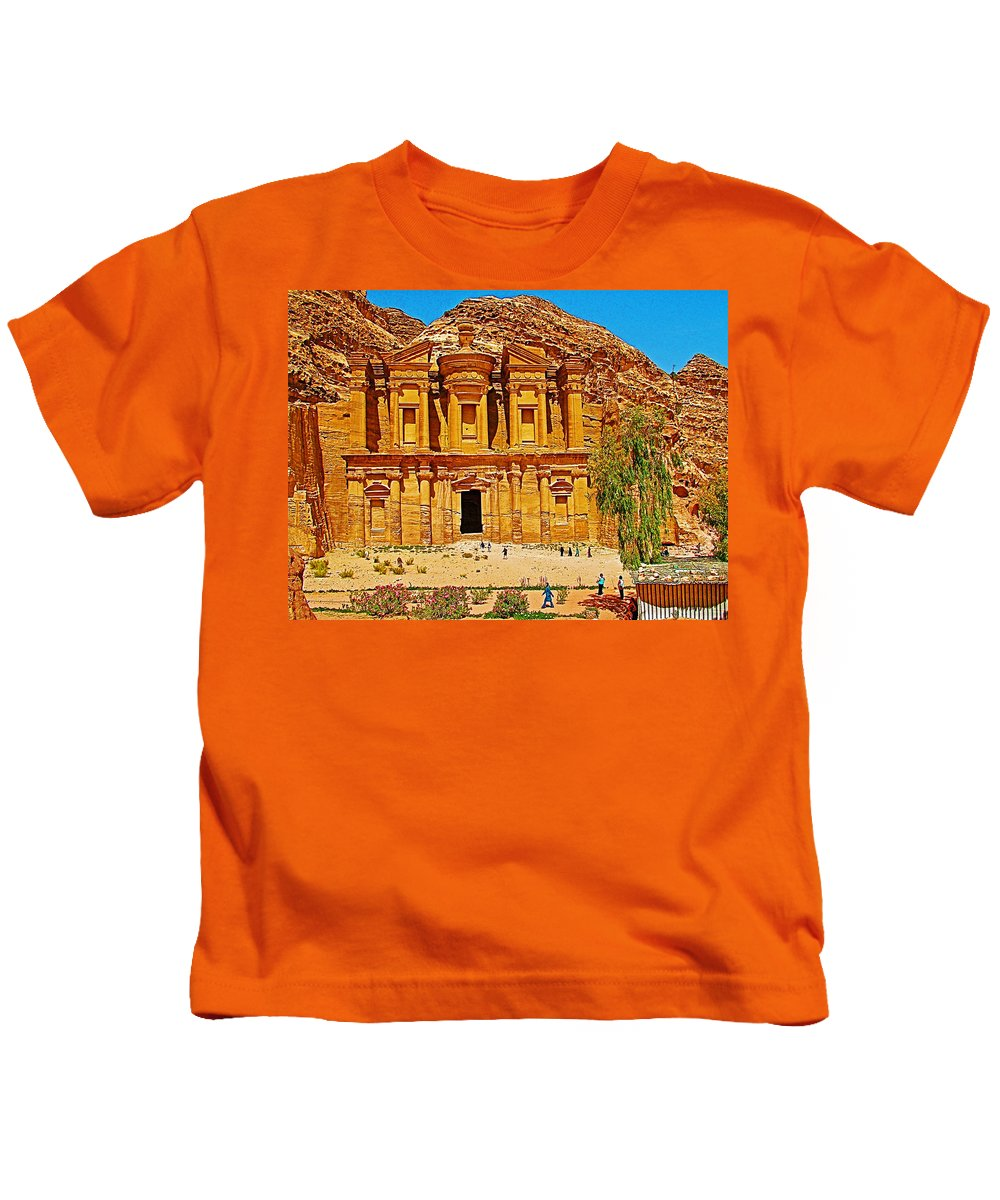 Al-dayr Or The Monastery In Petra Kids T-Shirt featuring the photograph Al-dayr Or The Monastery In Petra-jordan by Ruth Hager