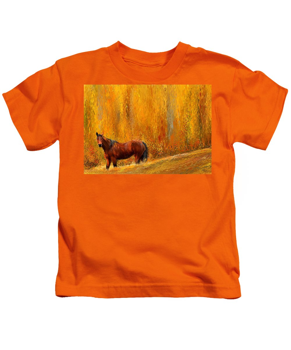 Bay Horse Paintings Kids T-Shirt featuring the painting Alone In Grandeur- Bay Horse Paintings by Lourry Legarde