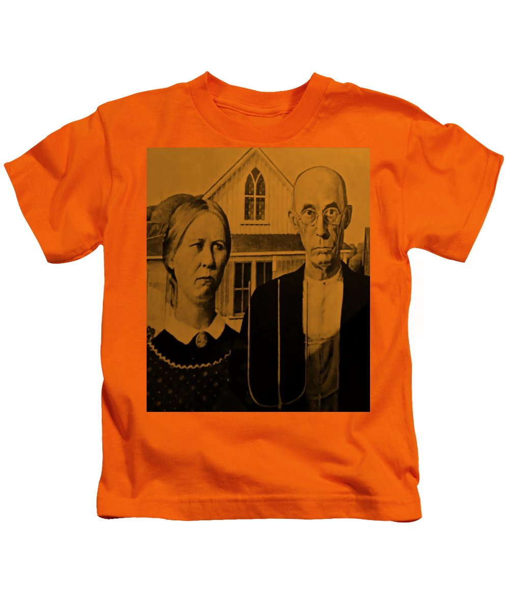 Americana Kids T-Shirt featuring the photograph American Gothic In Orange by Rob Hans