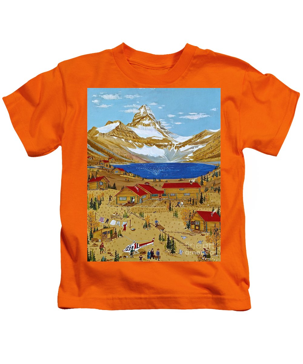 Mt Assiniboine Lodge Kids T-Shirt featuring the painting An Alpine Autumn by Virginia Ann Hemingson