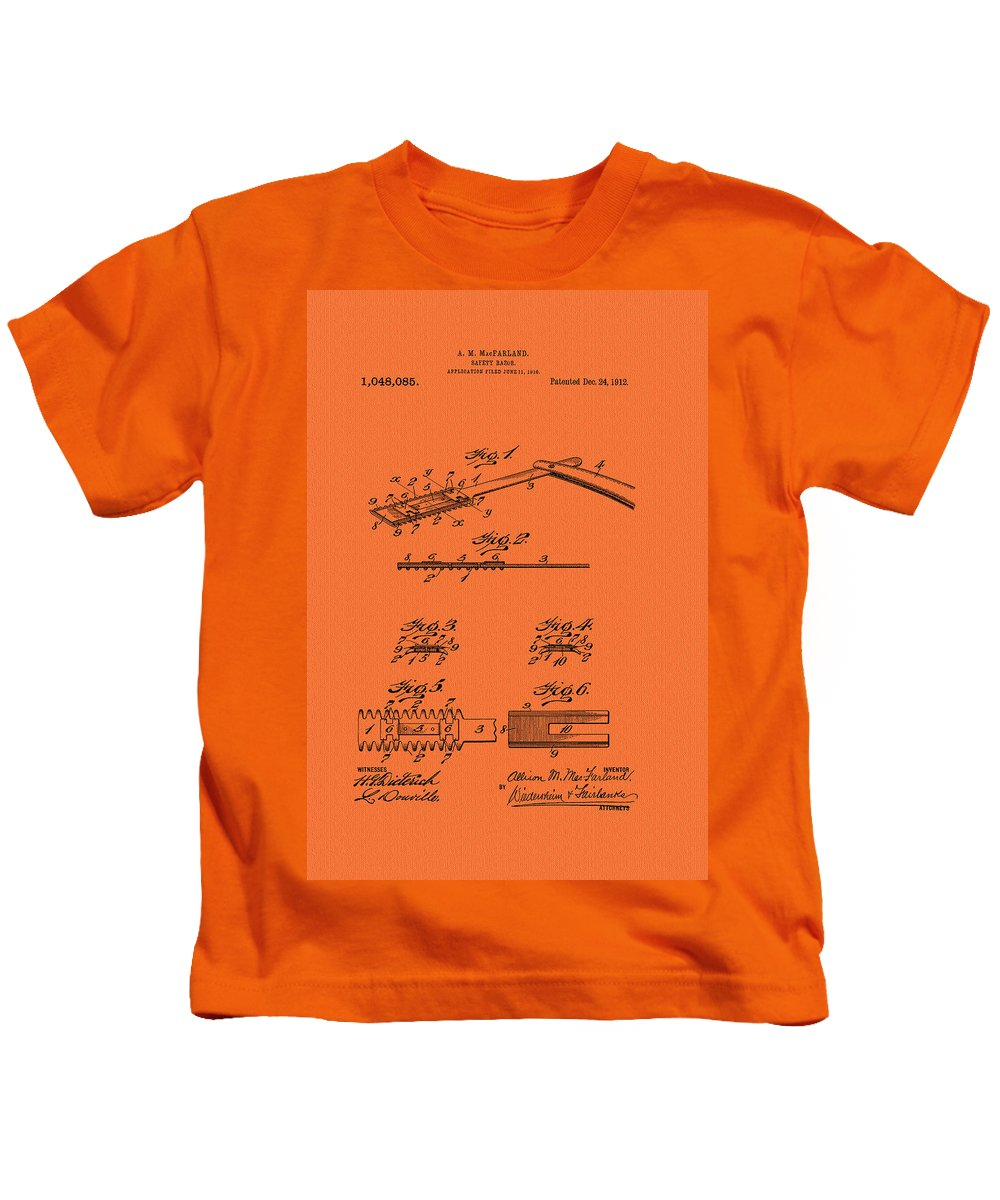 Patent Kids T-Shirt featuring the drawing Antique Safety Razor Patent 1912 by Mountain Dreams