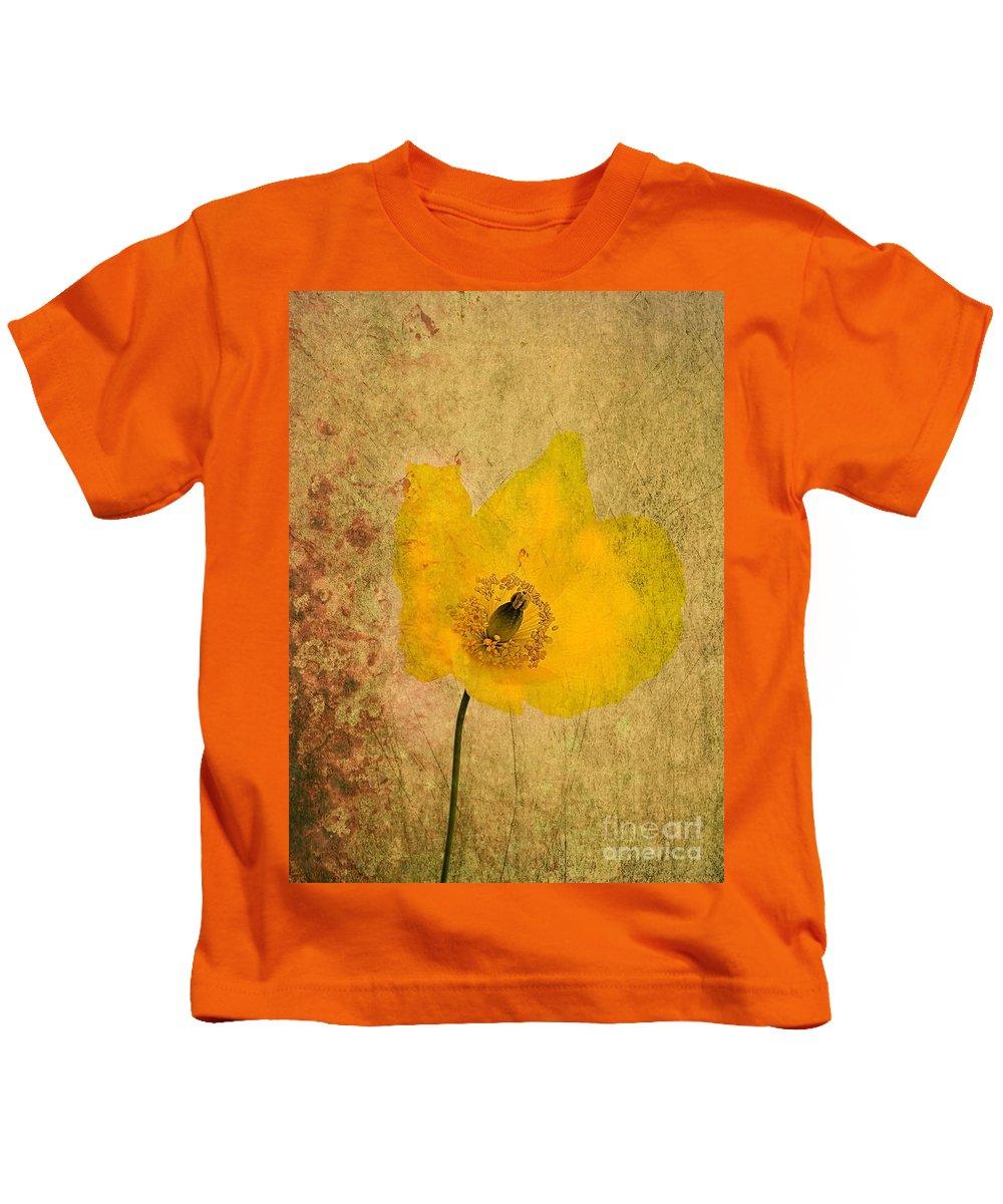 Kids T-Shirt featuring the photograph Antique Yellow Flower by Brian Raggatt