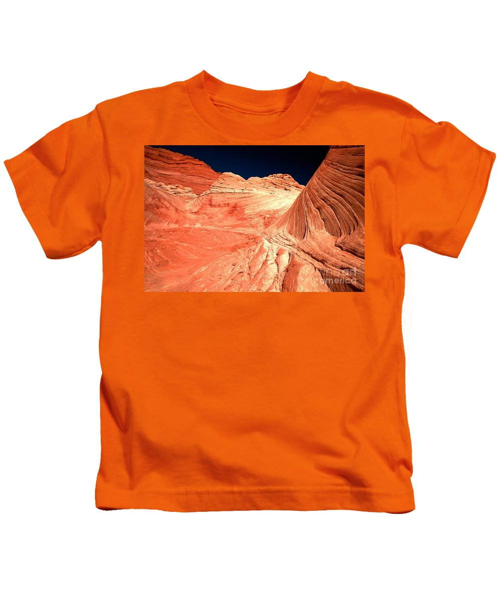 Coyote Buttes Kids T-Shirt featuring the photograph Arizona Sandstone Waves And Lines by Adam Jewell