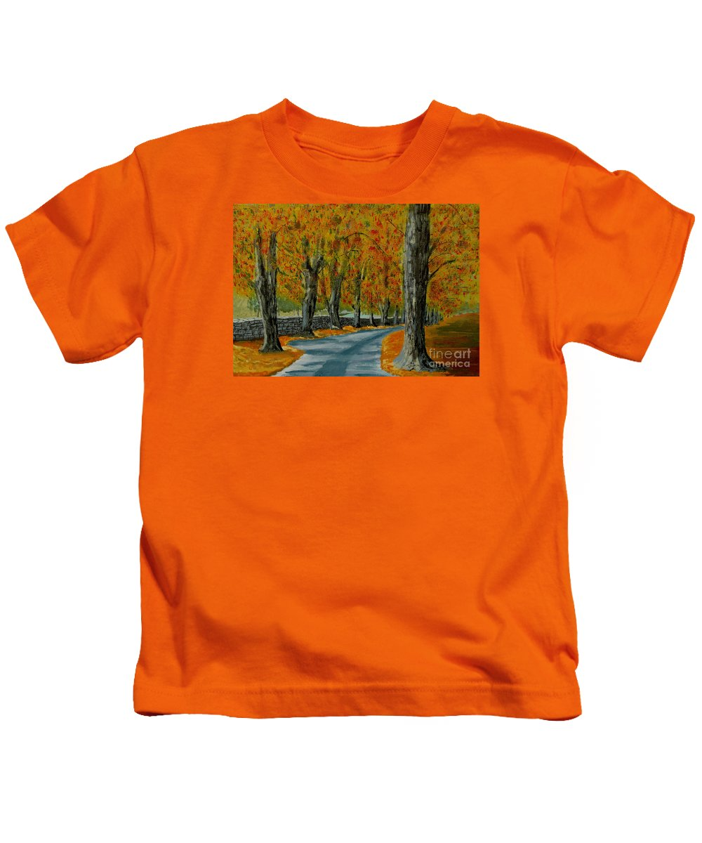 Autumn Kids T-Shirt featuring the painting Autumn Pathway by Anthony Dunphy