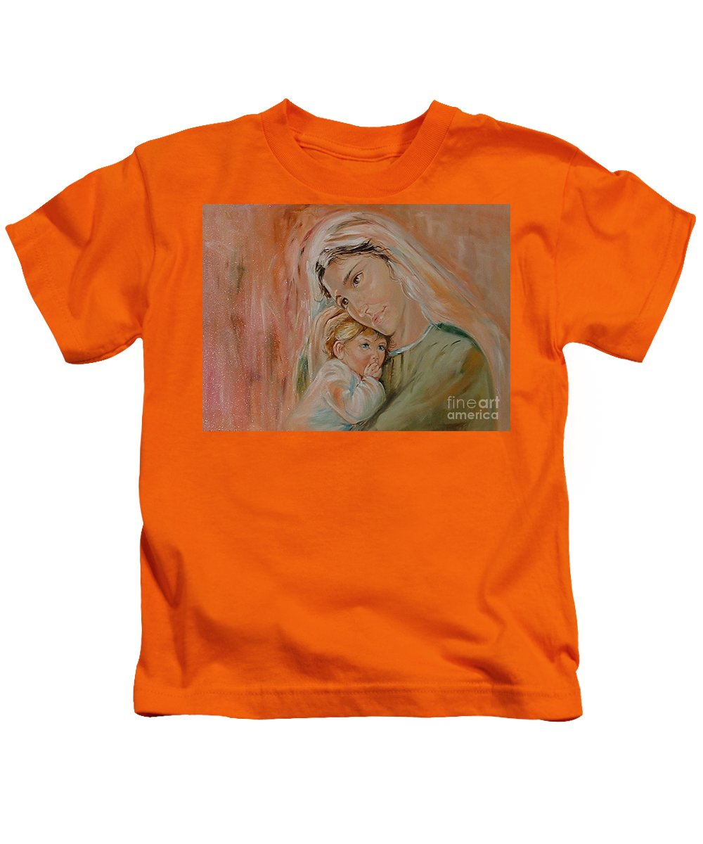 Classic Art Kids T-Shirt featuring the painting Ave Maria by Silvana Abel