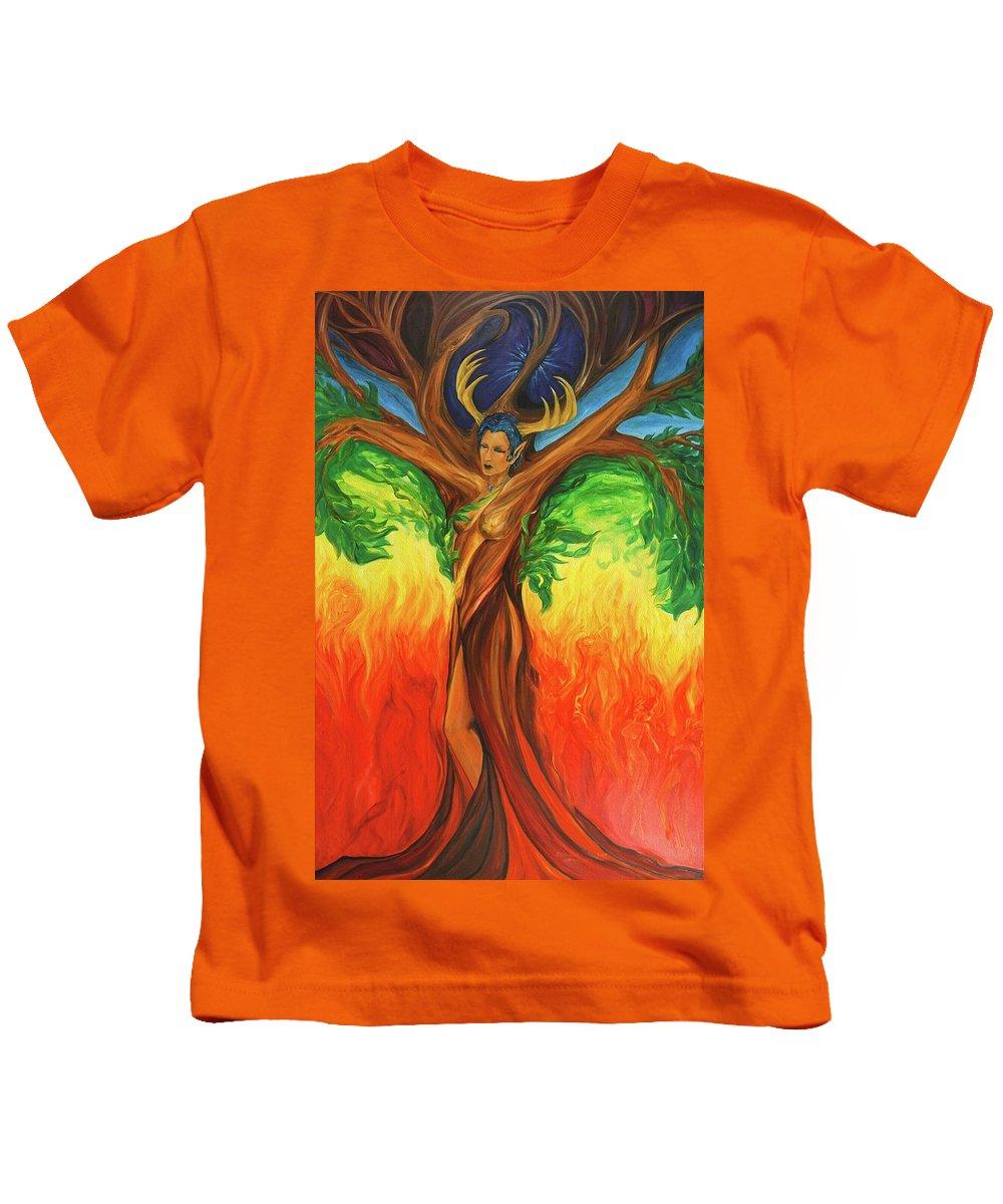 Landscape Kids T-Shirt featuring the painting Awakening The Chakra Tree by Jennifer Christenson