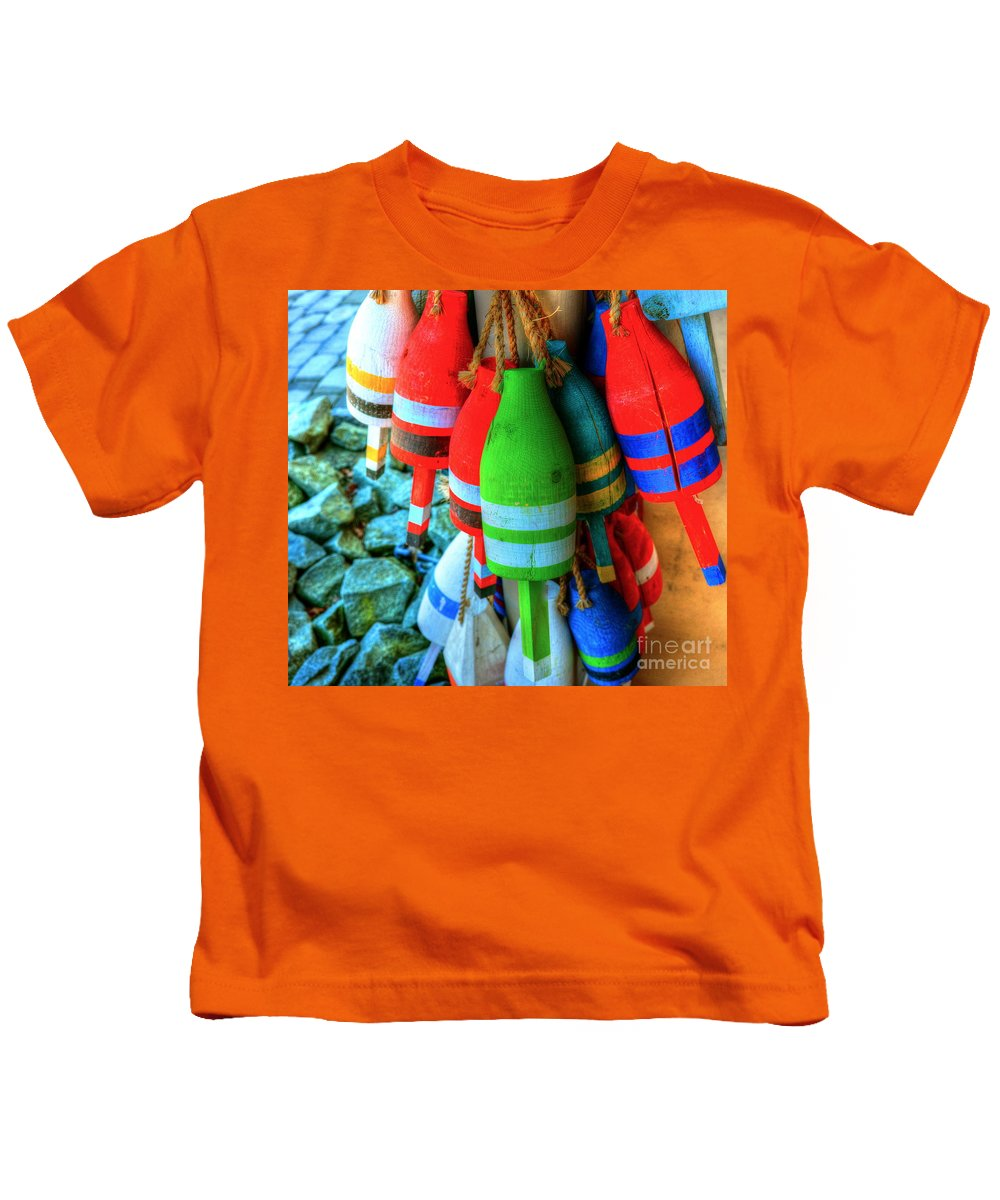 Buoys Kids T-Shirt featuring the photograph Baby Buoys by Debbi Granruth