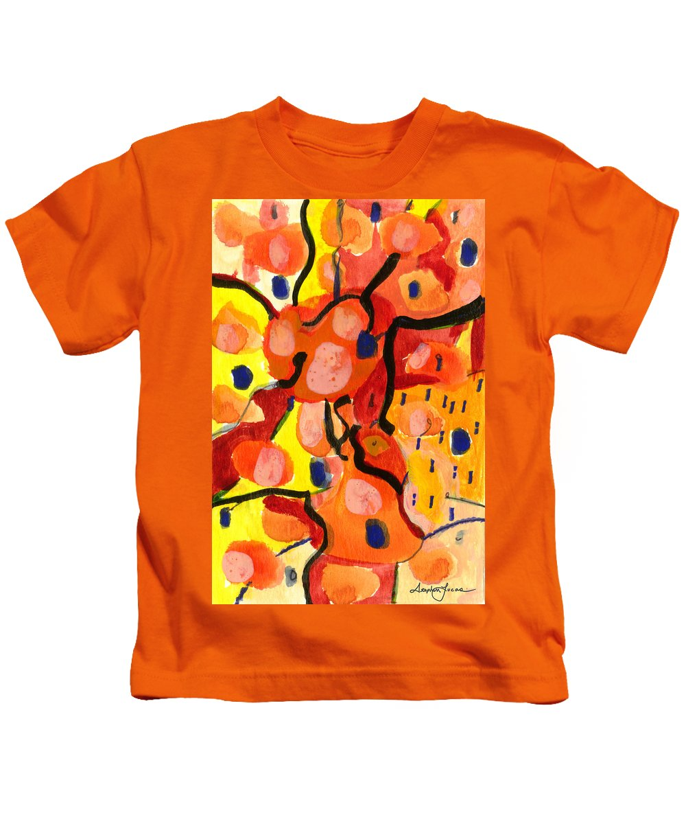 Abstract Art Kids T-Shirt featuring the painting Balloons At Mid-day by Stephen Lucas