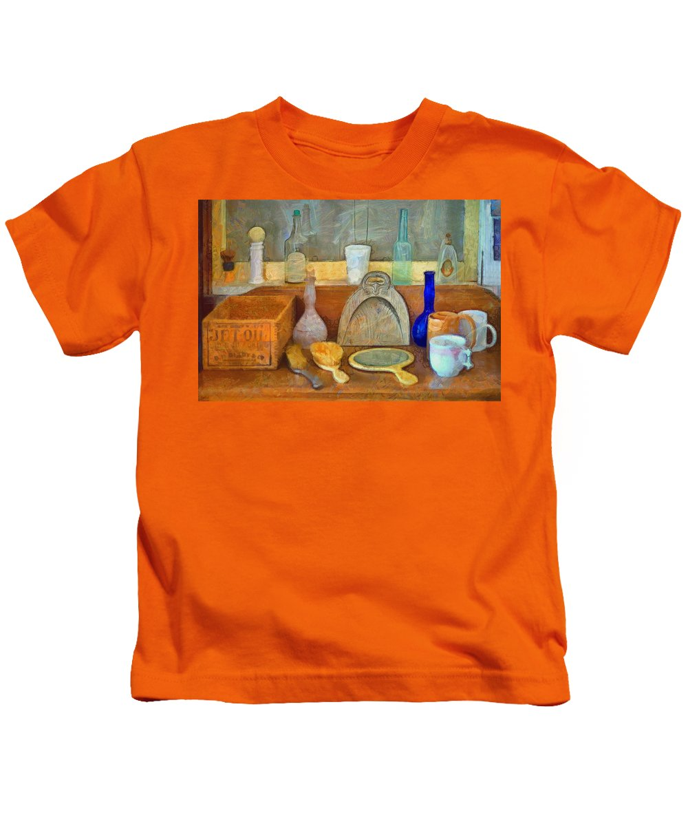 Barbers Tools Of The Trade Kids T-Shirt featuring the painting Barbers Tools Of The Trade by L Wright
