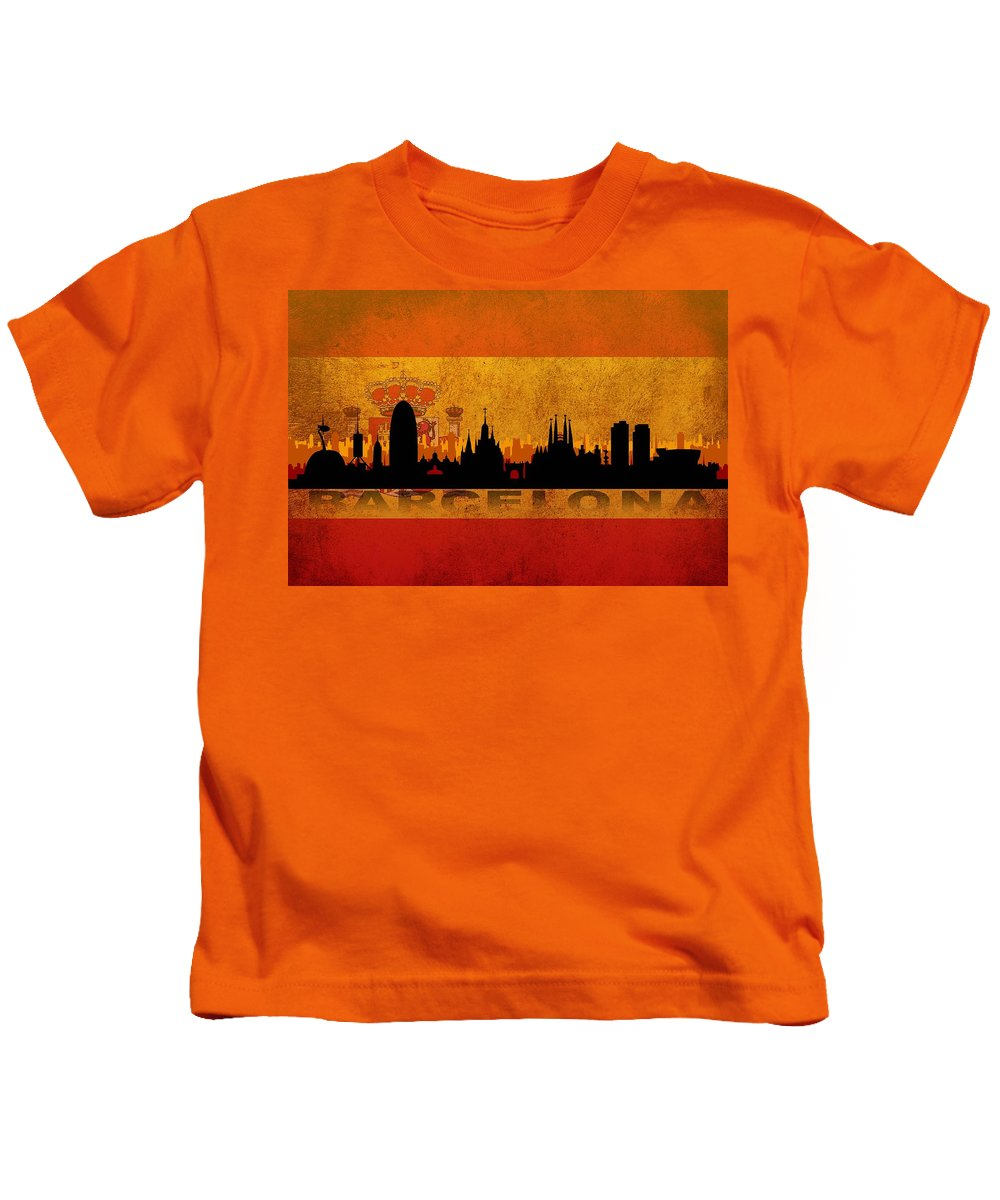 Architecture Kids T-Shirt featuring the digital art Barcelona City by Don Kuing