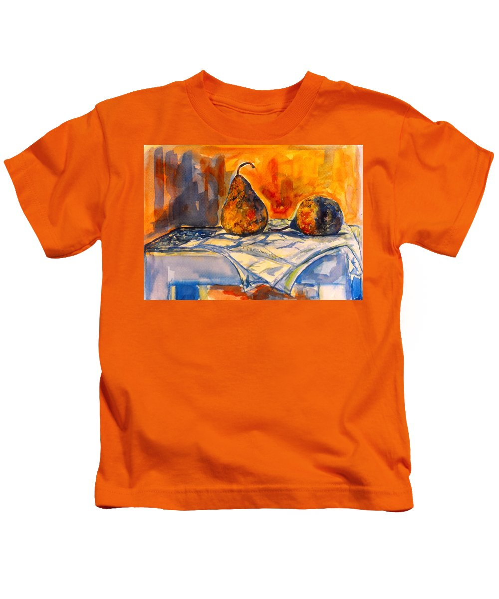 Kendall Kessler. Pear Paintings Kids T-Shirt featuring the painting Bartlett Pears by Kendall Kessler