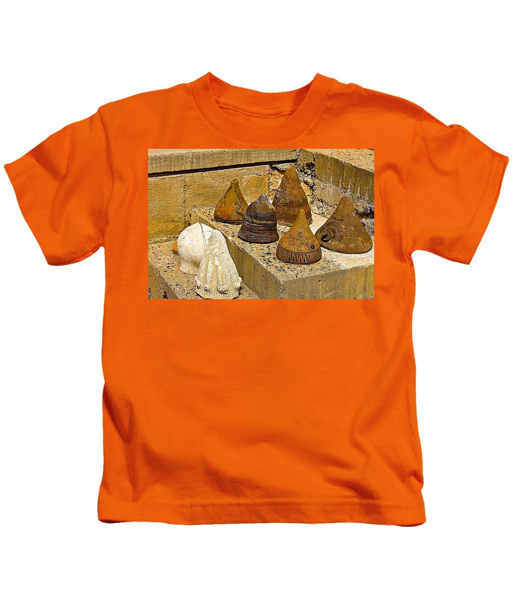 Arcosanti Kids T-Shirt featuring the photograph Bell Forms by Barbara Zahno