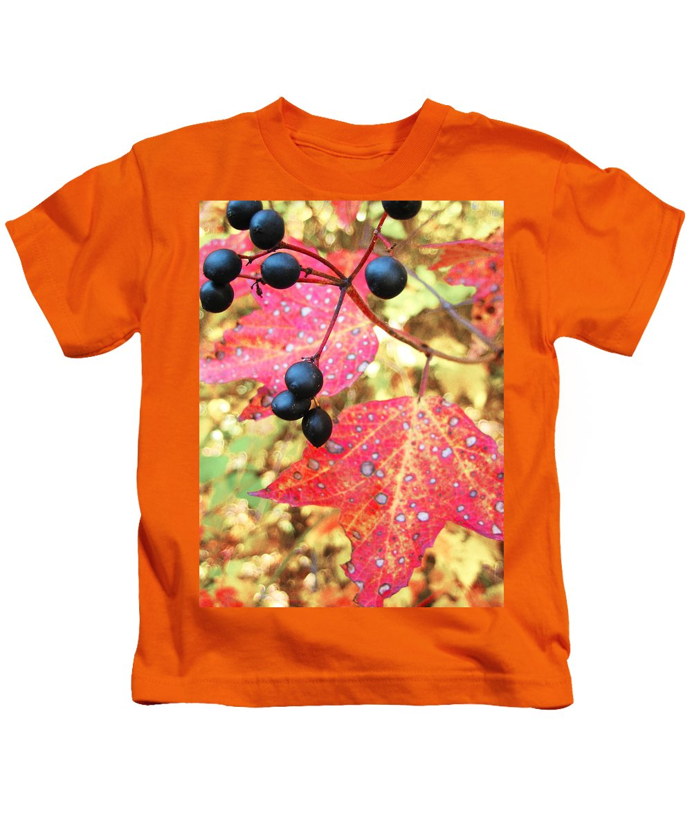 Leaves Kids T-Shirt featuring the photograph Berries And Leaves by Mary Cloninger