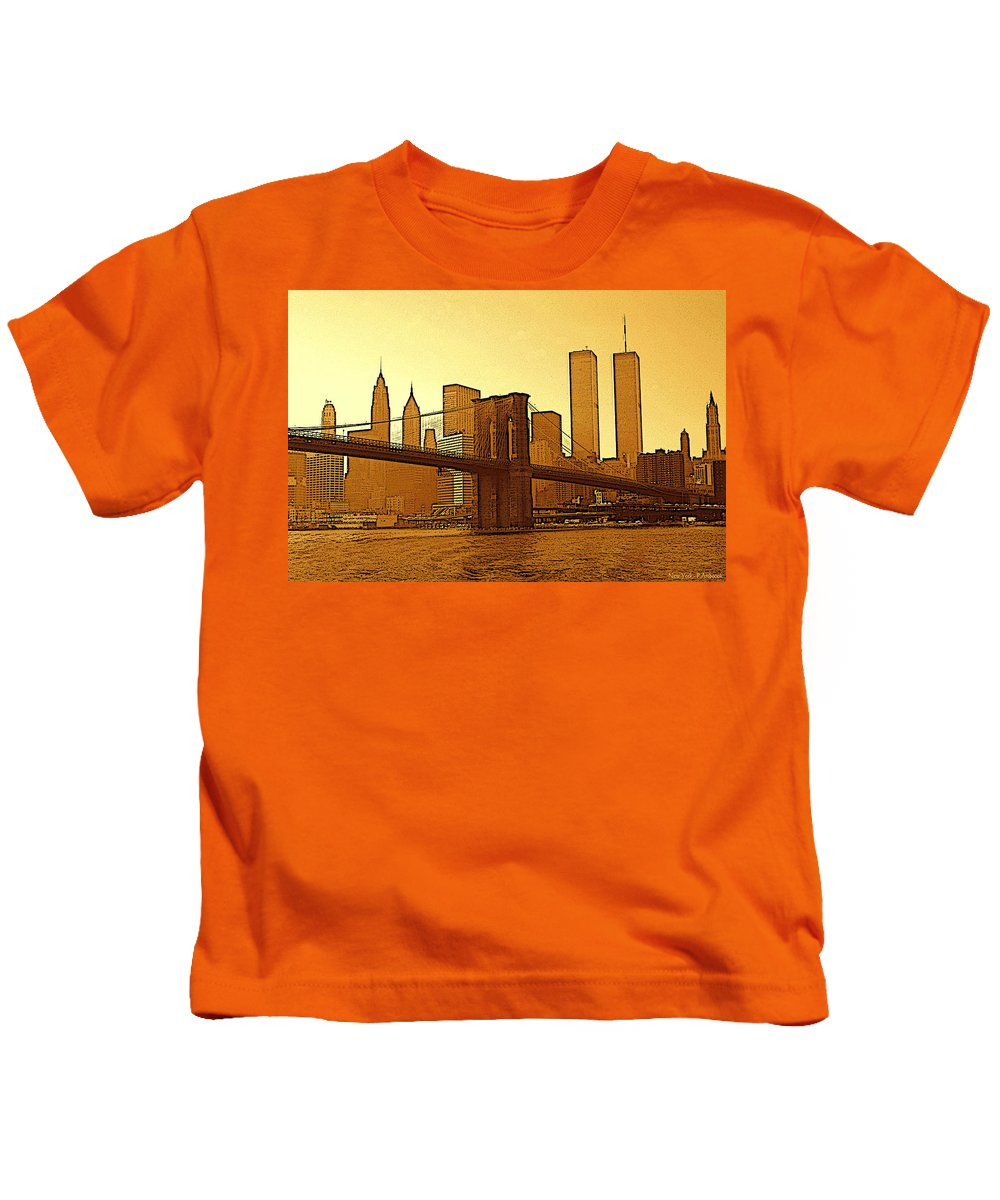 New+york+city Kids T-Shirt featuring the drawing New York City - Big Apple Sunrise by Peter Potter