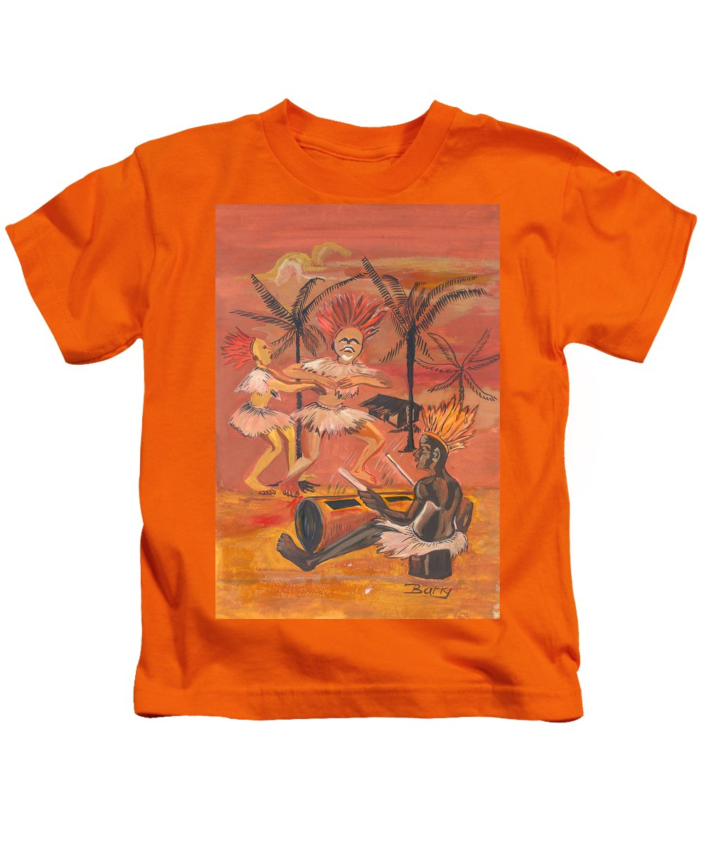 Barry Art Kids T-Shirt featuring the painting Bikutsi Dance From Cameroon by Emmanuel Baliyanga