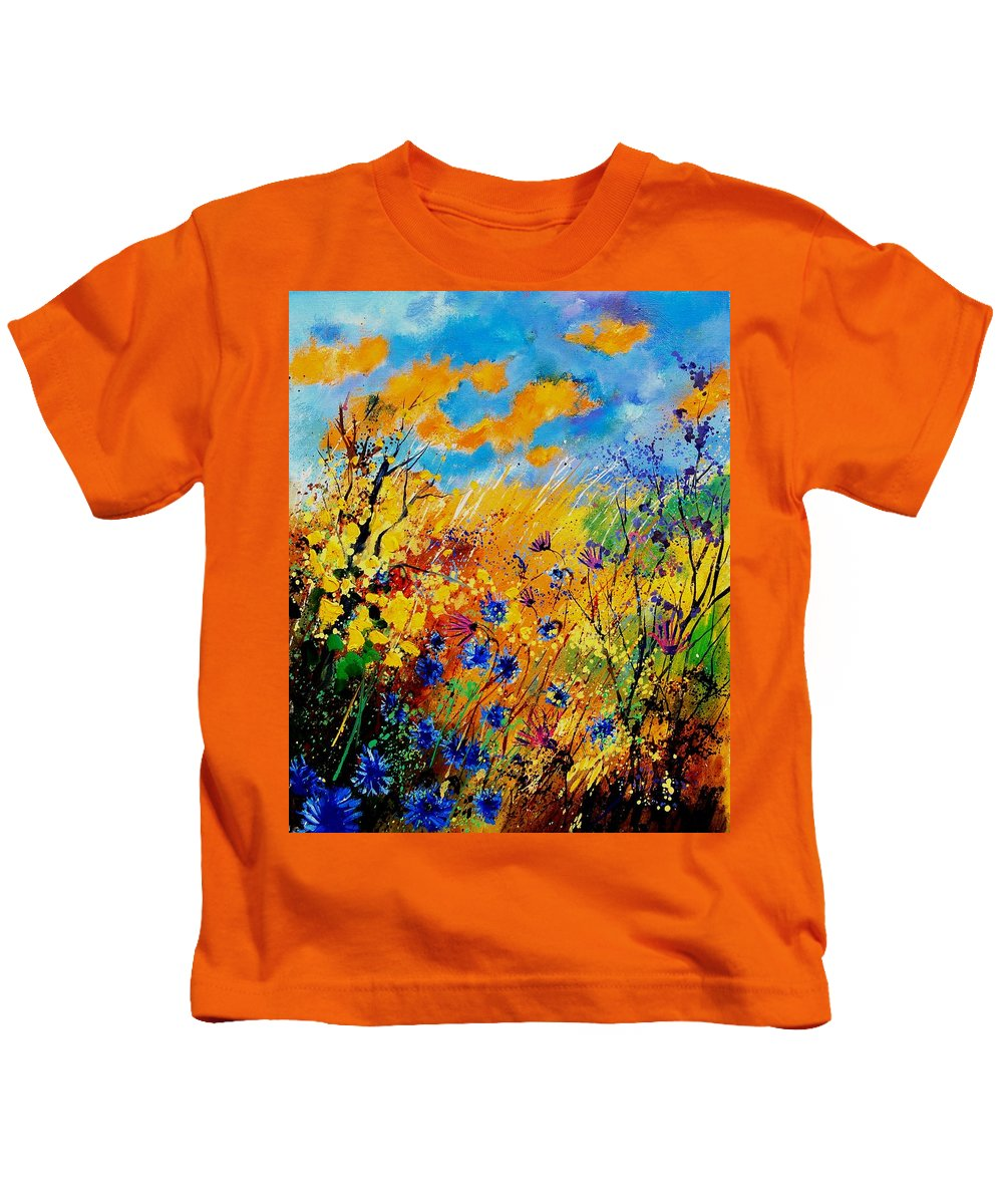 Poppies Kids T-Shirt featuring the painting Blue Cornflowers 450408 by Pol Ledent