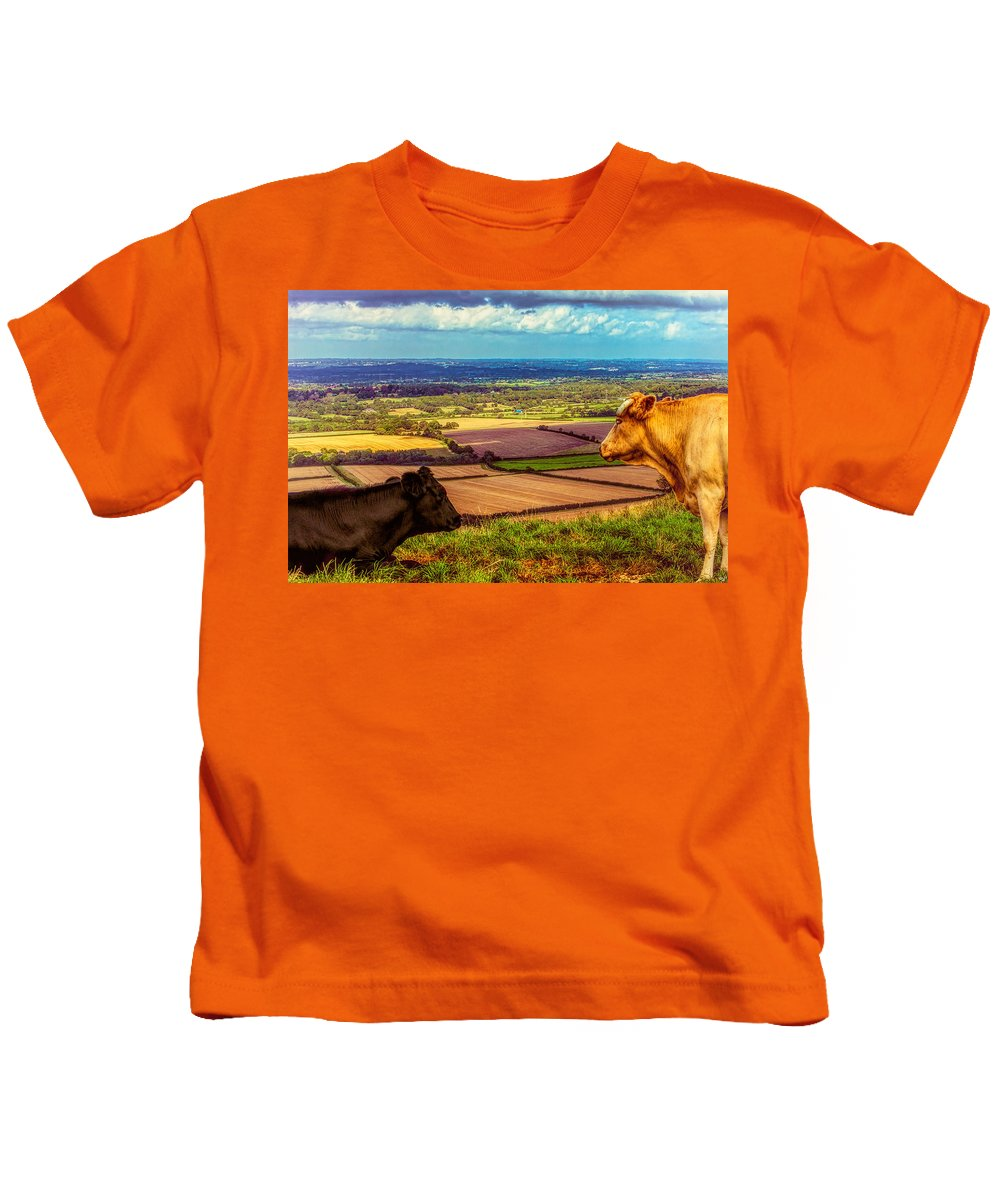 Bovine Kids T-Shirt featuring the photograph Bluebell And Buttercup by Chris Lord