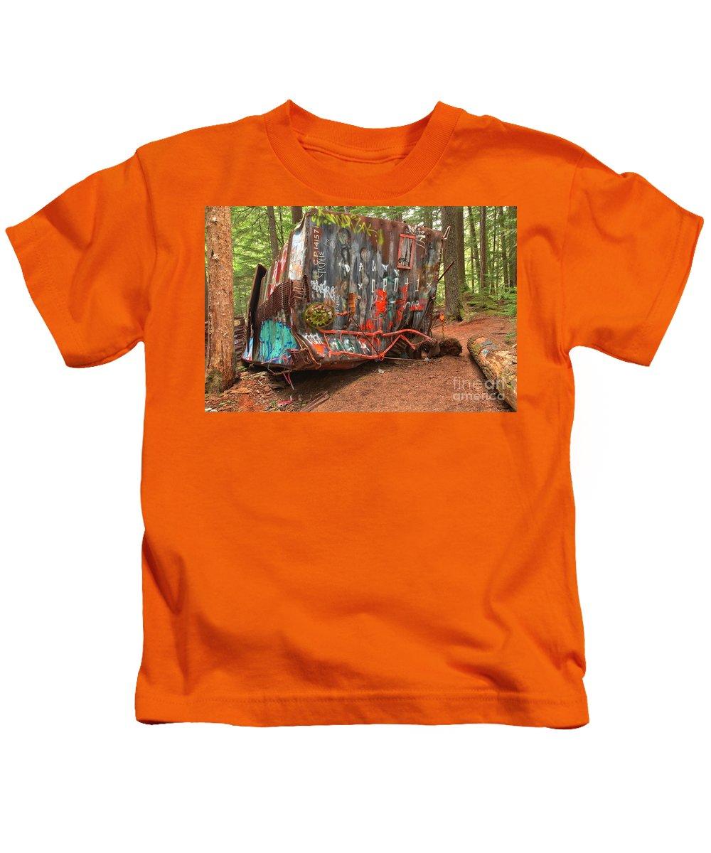 Canada Pacific Kids T-Shirt featuring the photograph Box Car Graffiti by Adam Jewell