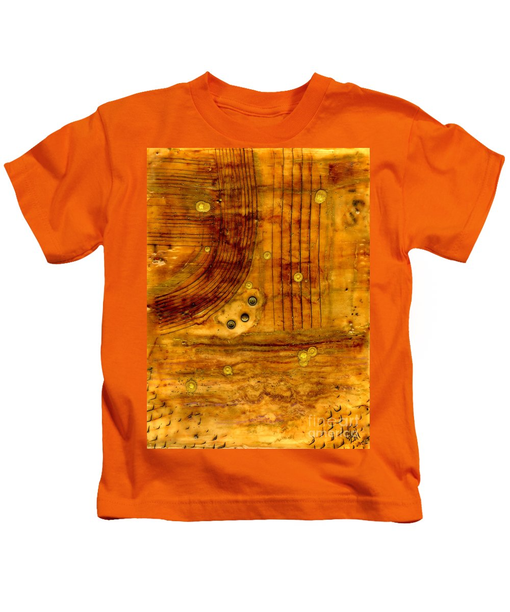 Wood Kids T-Shirt featuring the mixed media Brass Tokens by Angela L Walker