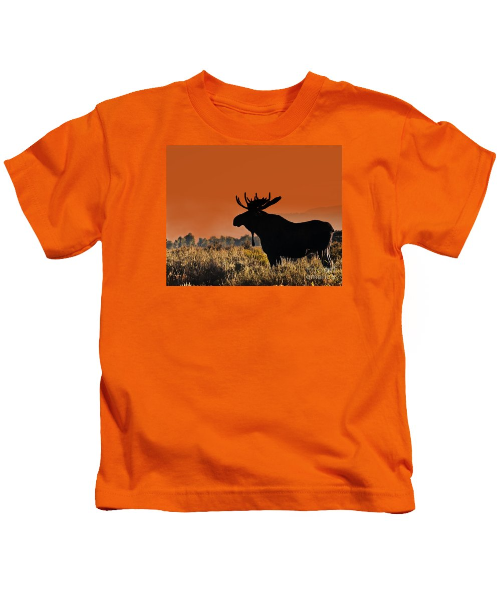 Moose Kids T-Shirt featuring the photograph Bull Moose Sunset by Timothy Flanigan and Debbie Flanigan Nature Exposure