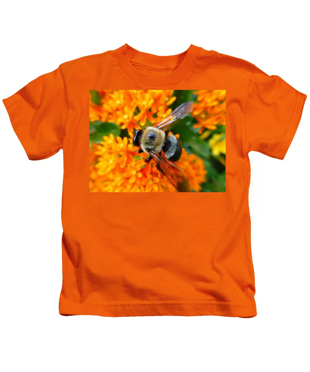 Bumbler Kids T-Shirt featuring the photograph Bumbler by Jennifer Wheatley Wolf
