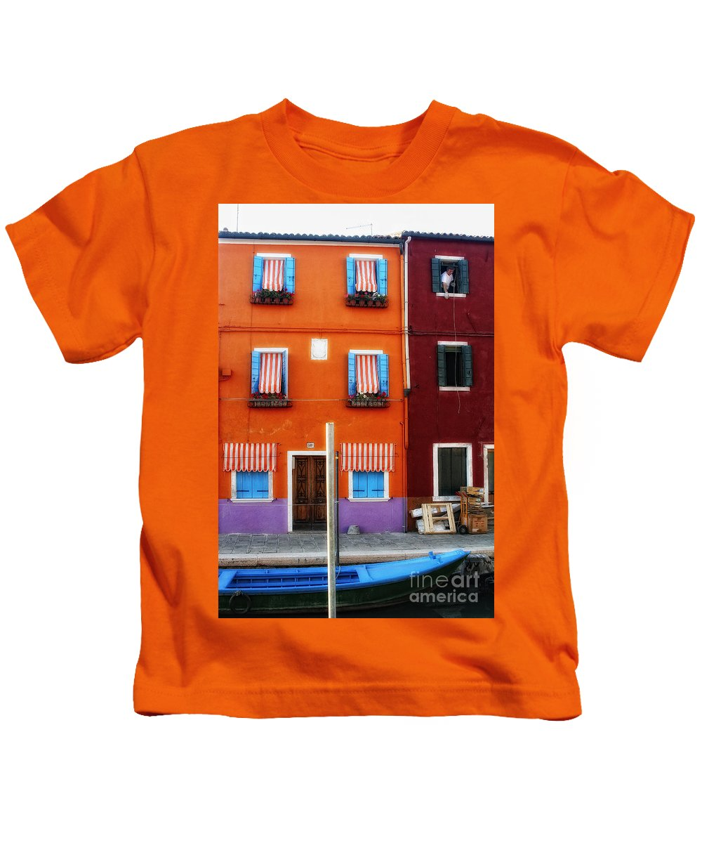 Italy Kids T-Shirt featuring the photograph Burano Colors by Timothy Hacker