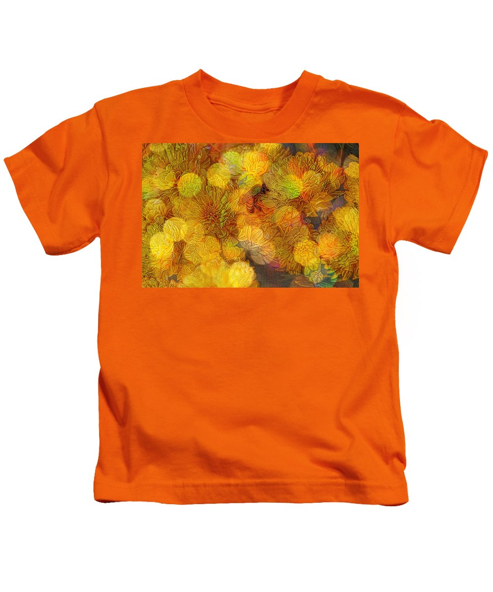 Flowers Kids T-Shirt featuring the photograph Busy Bee In The Marigolds by Ericamaxine Price