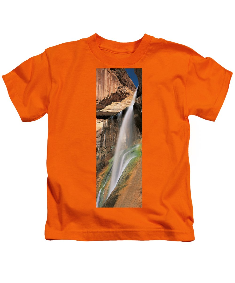 Photography Kids T-Shirt featuring the photograph Calf Creek Falls Ut Usa by Panoramic Images