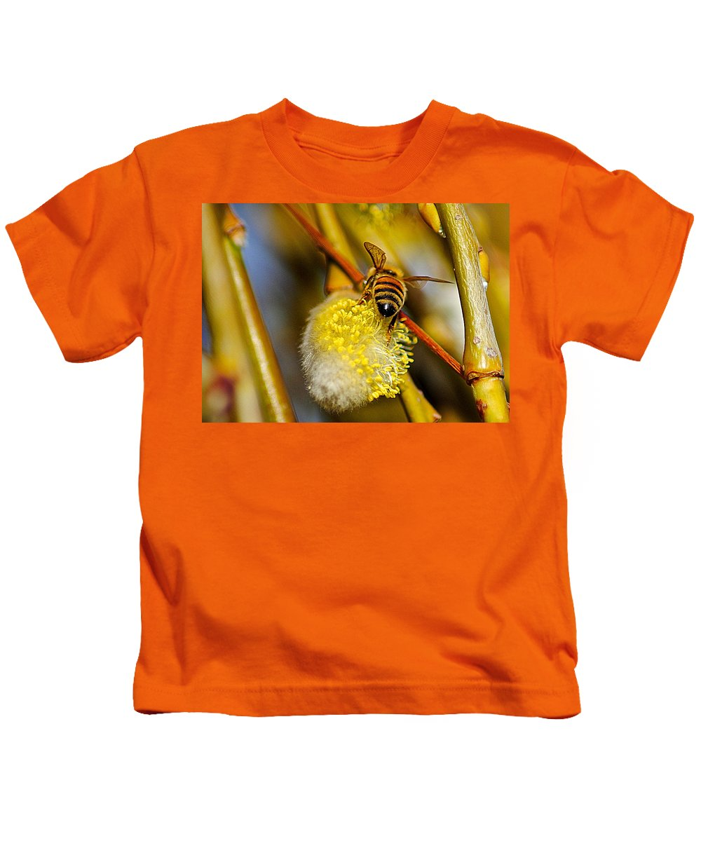 Bee Kids T-Shirt featuring the photograph Check Out My Beehind by Frozen in Time Fine Art Photography