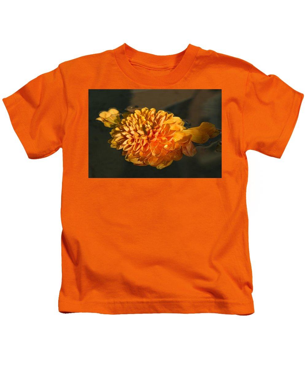 Georgia Mizuleva Kids T-Shirt featuring the photograph Chrysanthemum Gently Floating In The Fountain Of Campo De Fiori - Rome - Italy by Georgia Mizuleva