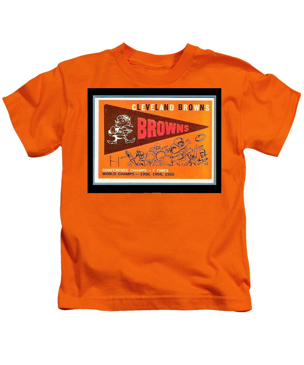 Cleveland Browns Kids T-Shirt featuring the painting Cleveland Browns 1959 Retro Print by Paul Van Scott