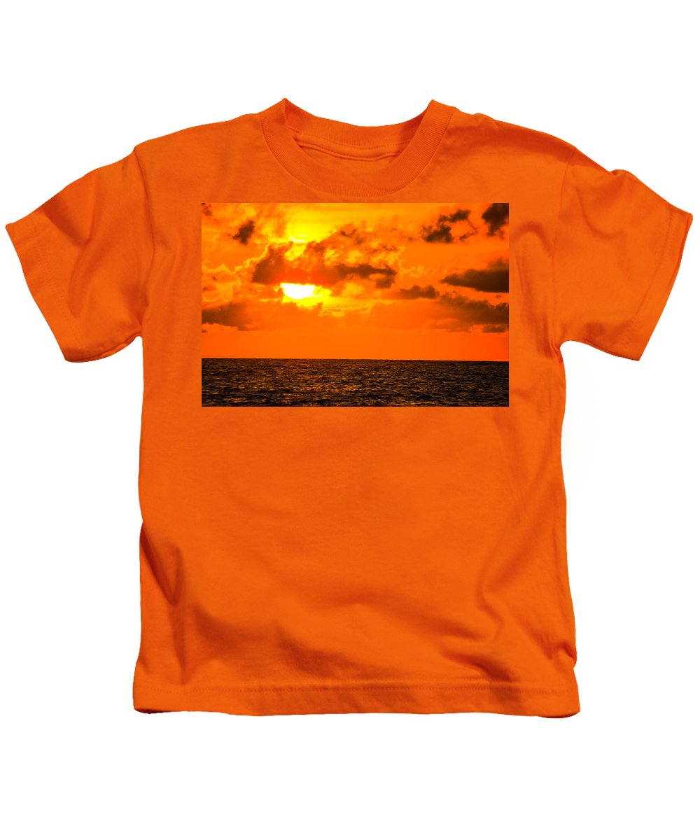 Beach Cottage Life Kids T-Shirt featuring the photograph Clouds And Sun Play by Mary Hahn Ward