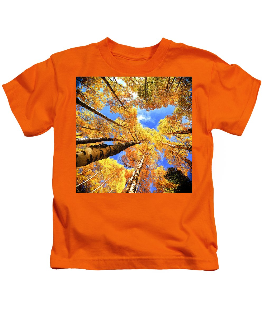 Kids T-Shirt featuring the photograph Colorado Autumn Sky by OLena Art Brand