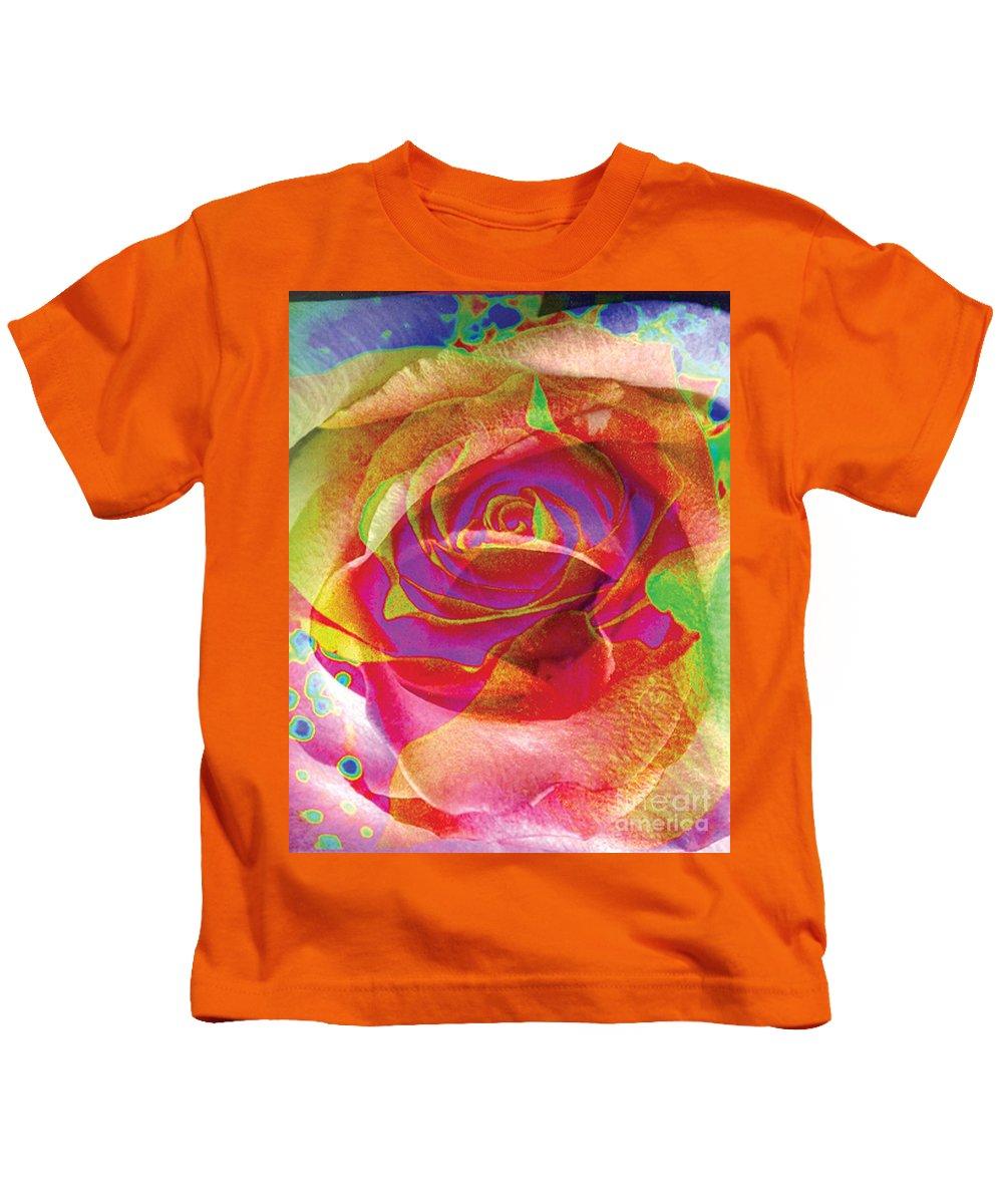 Rose Flower Kids T-Shirt featuring the digital art Colorfull Rose by Yael VanGruber