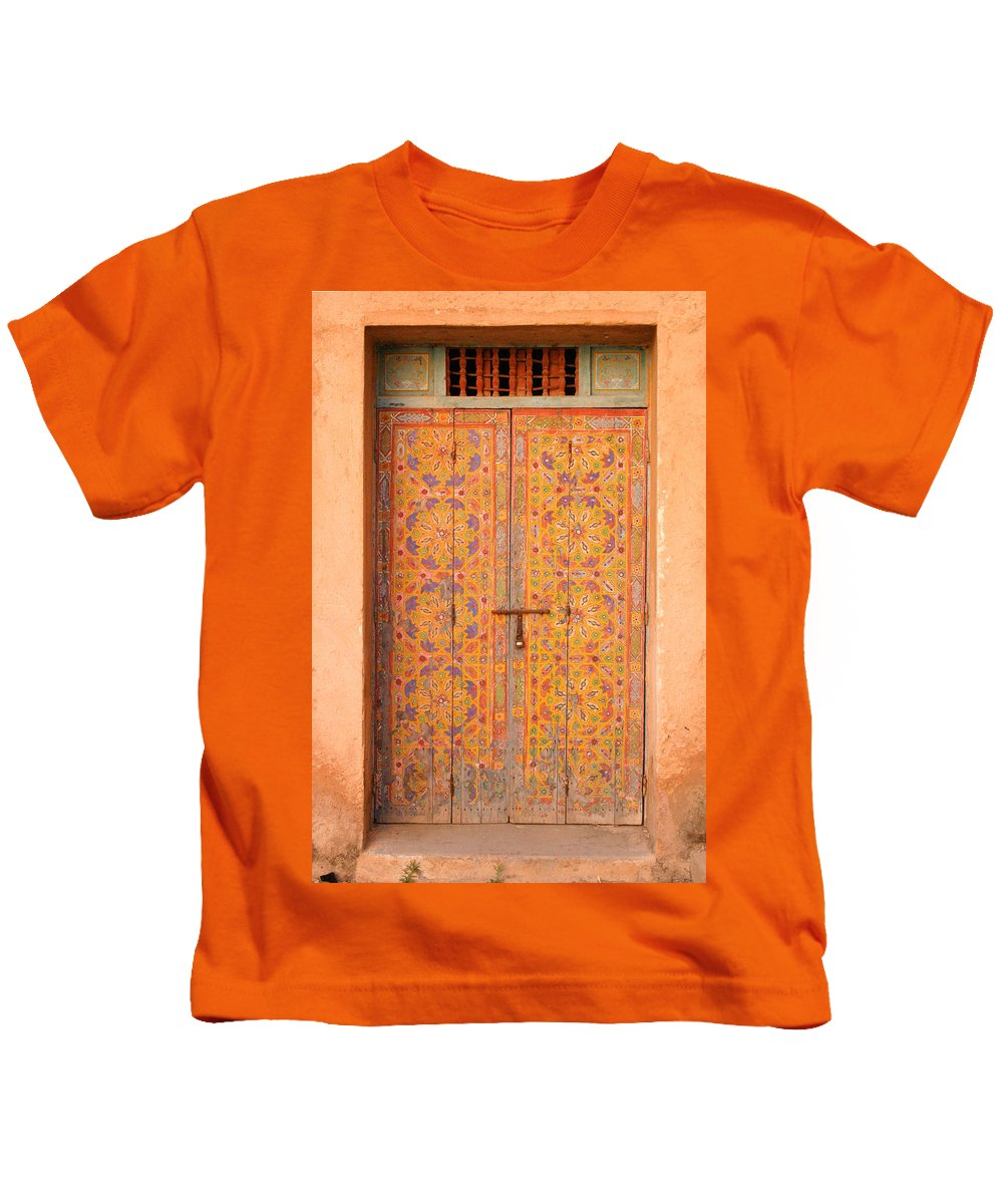 Door Kids T-Shirt featuring the photograph Colourful Entrance Door Sale Rabat Morocco by Ralph A Ledergerber-Photography