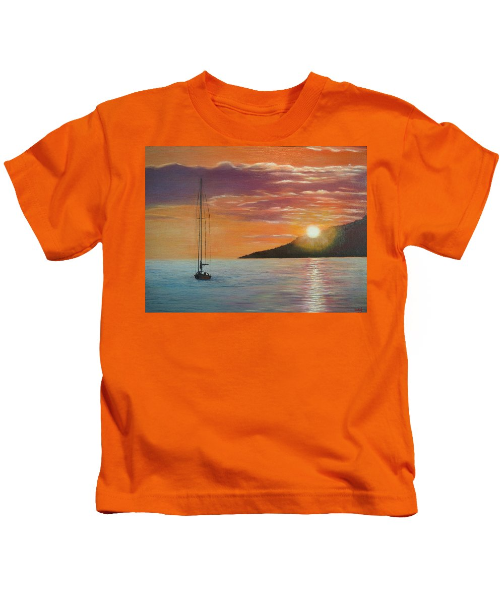 Sailboat Kids T-Shirt featuring the painting Coming Home English Bay by Brent Ciccone