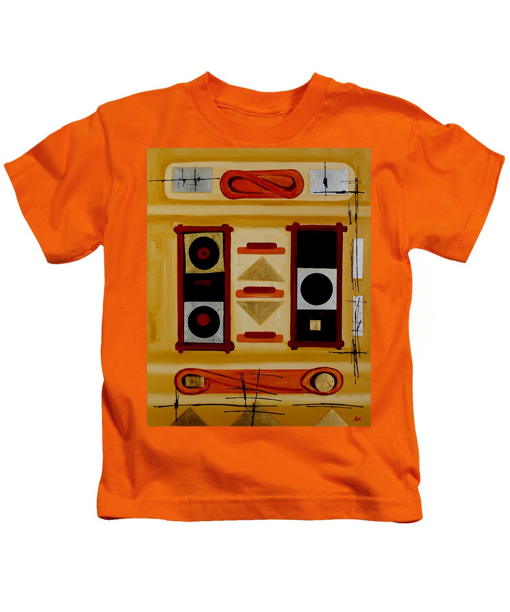 Abstract Kids T-Shirt featuring the painting Composition - 6 - by Miroslav Stojkovic - Miro
