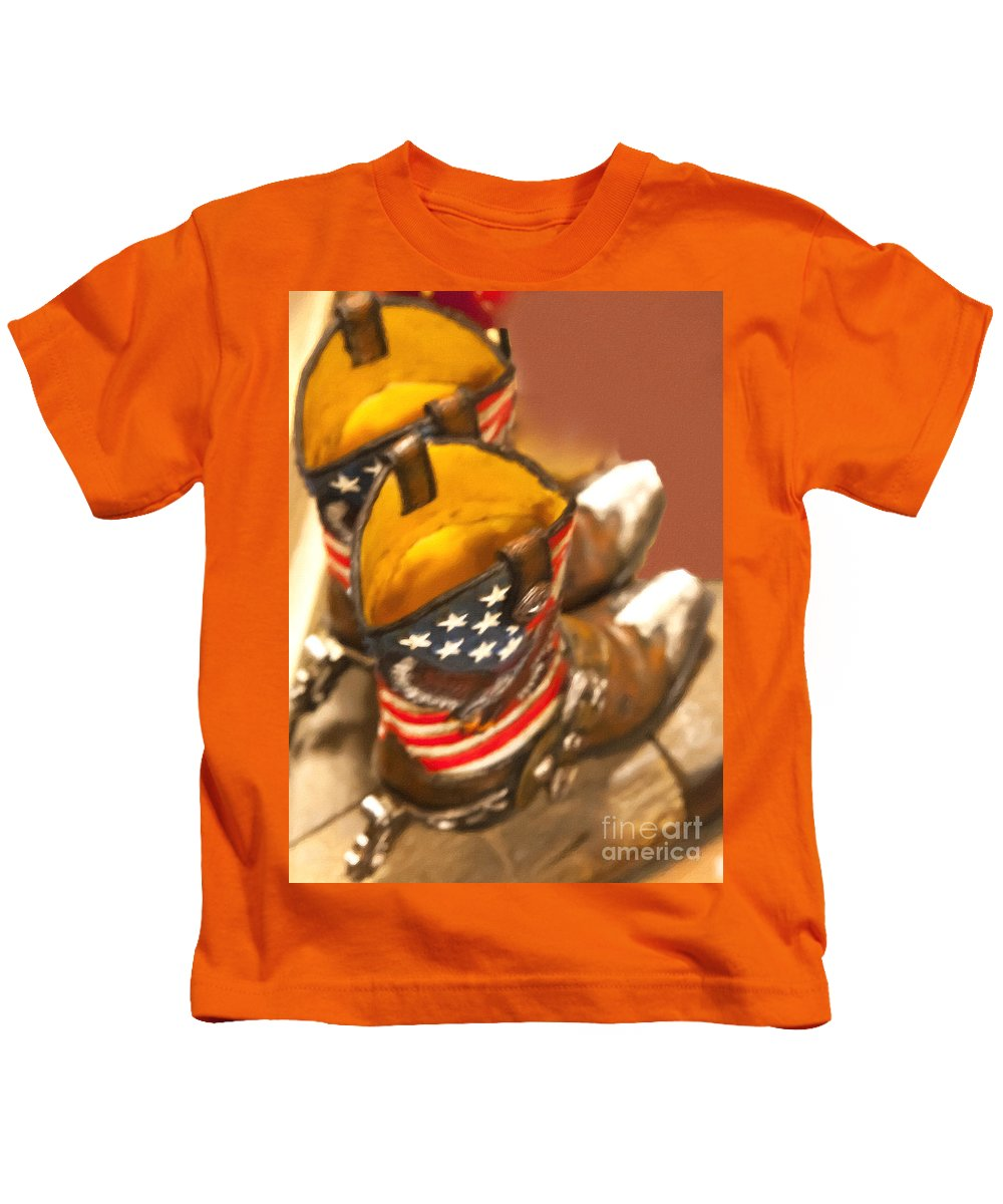 Cowgirl Kids T-Shirt featuring the painting Cowgirl by David Millenheft