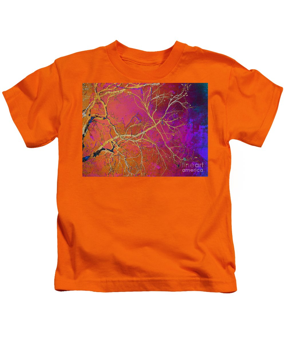 Abstract Kids T-Shirt featuring the photograph Crackling Branches by Meghan at FireBonnet Art