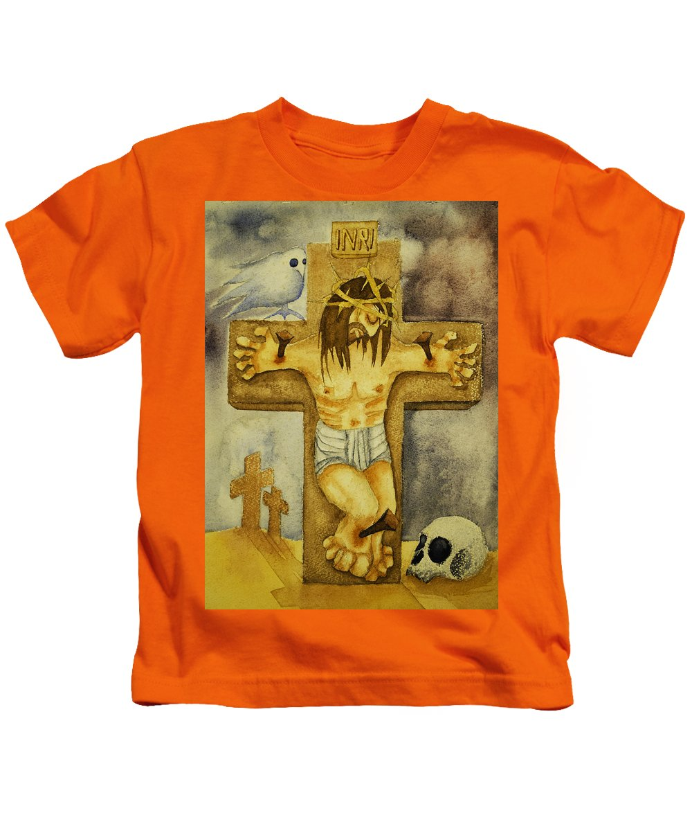Christ Kids T-Shirt featuring the painting Crucifixion by Daniel P Cronin