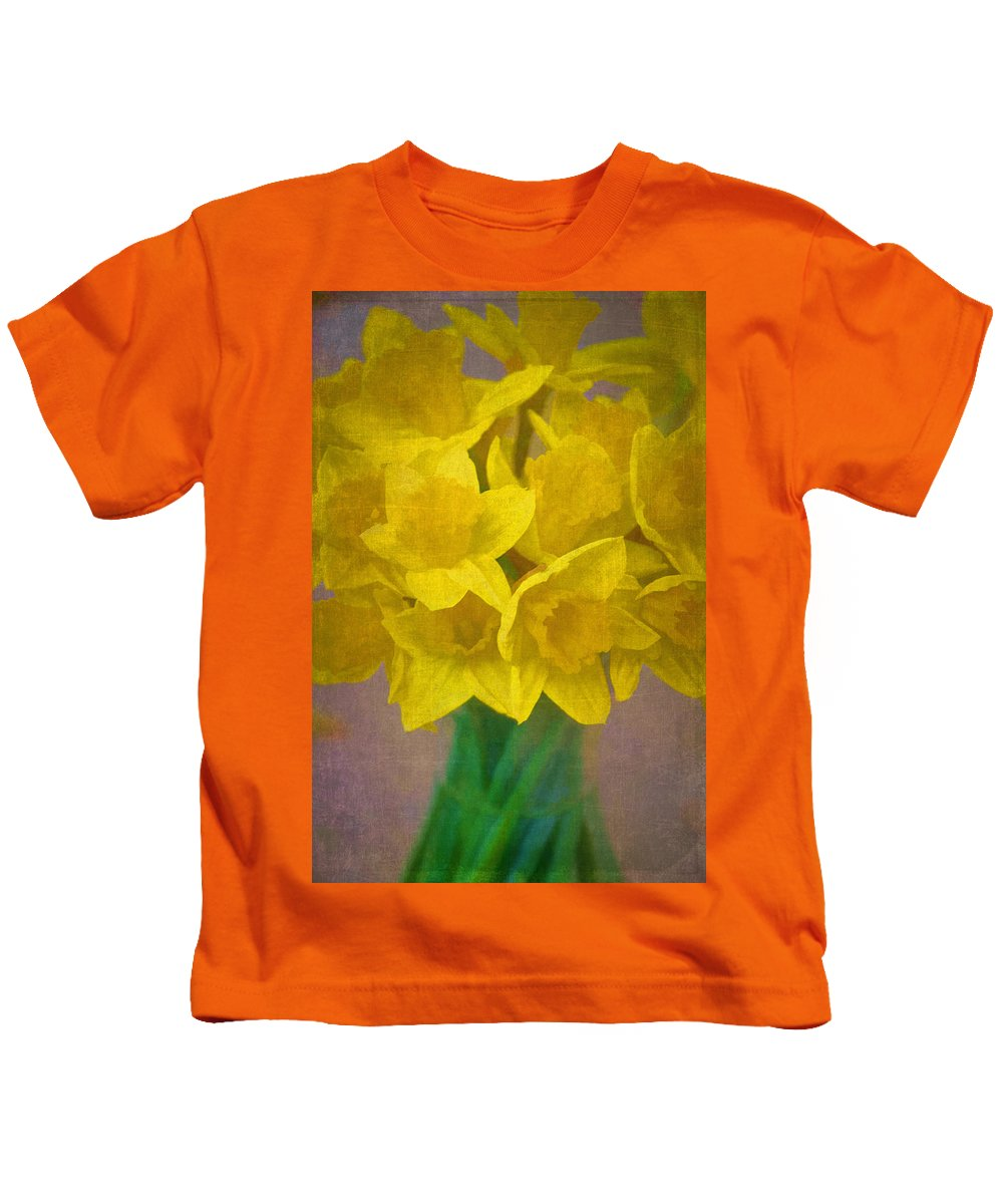 Floral Kids T-Shirt featuring the photograph Daffodils 10 by Pamela Cooper
